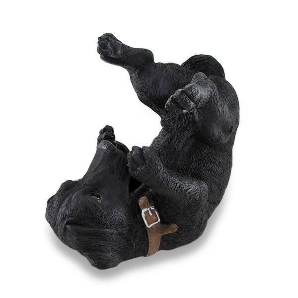 Black Lab Wine Holder Bottle Display Sculpture - 7.5 X 7.75 X 4.5 inches