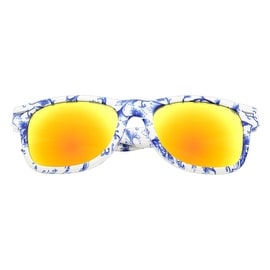 Zodaca Women Blue/ White Porcelain Frame Mirror Lens Sunglasses Eyewear for Outdoor Beach Swimming in Assorted Color