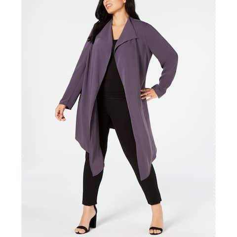 Anne Klein Womens Jackets Gray Size 1X Plus Cardigan Draped Flyaway