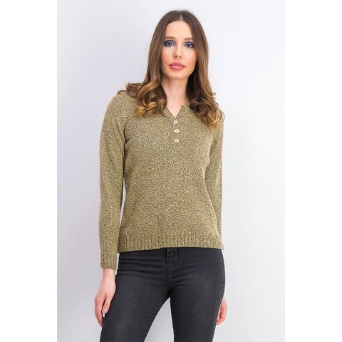 Karen Scott Women's Petite Point-Collar Sweater Brown Size Petite Small - Petite Small