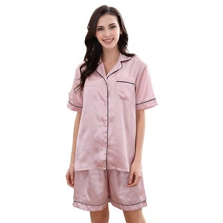 Richie House Women's Satin Two-piece Pajama Set with Shorts