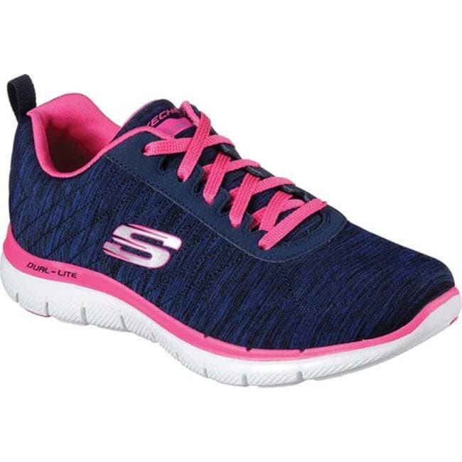 dc525bb1d812f Shop Skechers Women s Flex Appeal 2.0 Training Sneaker Navy Pink - Free  Shipping Today - Overstock - 12023775