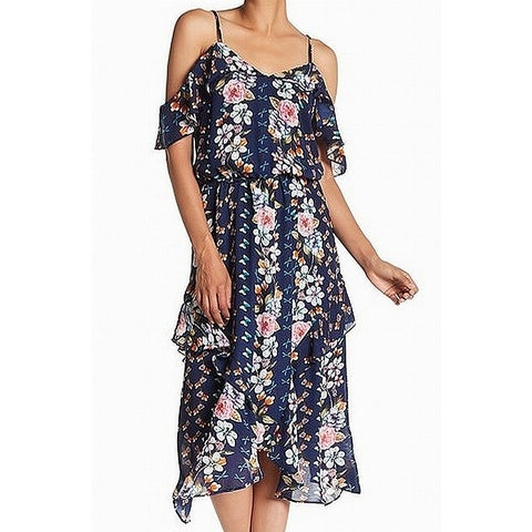 Parker Blue Womens Size Medium M Cold Shoulder Ruffle Shift Dress