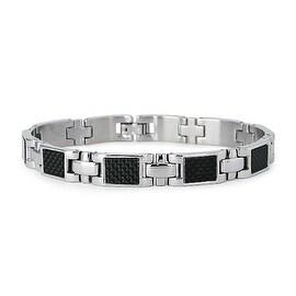 Stainless Steel Black Carbon Fiber Link Bracelet - 8.5 inches