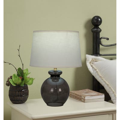 """15"""" Tinted Glass Ball Accent Lamp with Round Hardback Shade"""