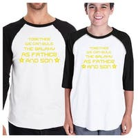 We Can Rule The Galaxy Matching Dad Son Graphic Raglan Tee Shirts