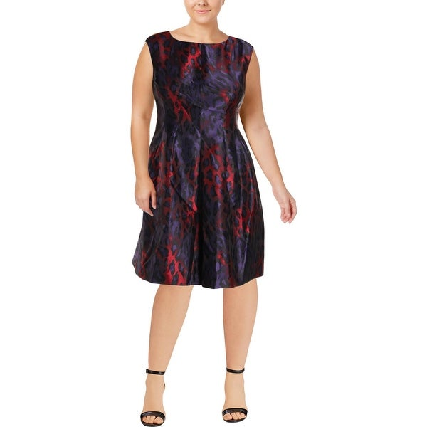 Anne Klein Womens Cocktail Dress Animal Print Pleated
