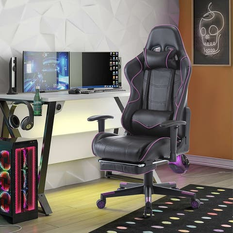 Leather Reclining Swivel Racing Office Computer Gaming Chair with Footres and Lumbar Support