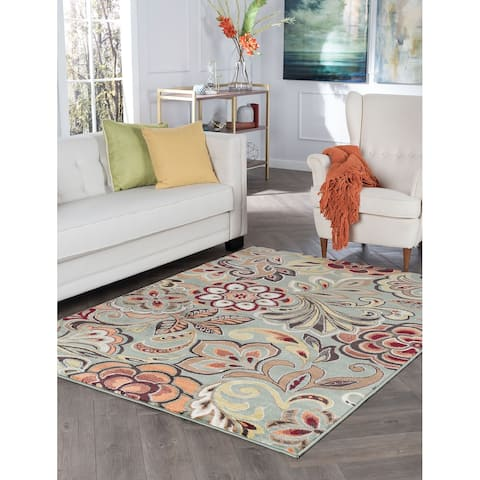 Alise Rugs Decora Transitional Floral Area Rug - 5'3 x 7'3