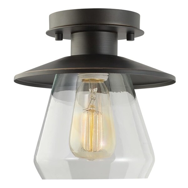 Globe Electric 64846 1 Light Semi-Flush Mount Ceiling Light Fixture with Clear Glass Shade - Oil Rubbed bronze