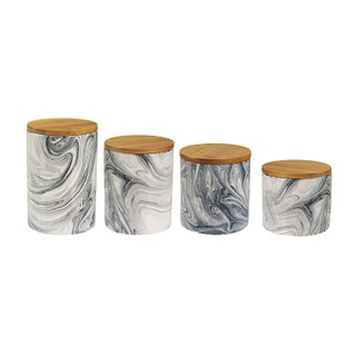 Elle Collection Marble Grey Set of Four Kitchen Storage Canister with Wooden Lids