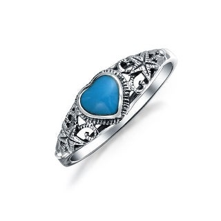 Bling Jewelry Nautical Starfish Reconstituted Turquoise Heart Ring 925 Silver