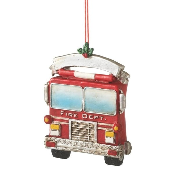"3.25"" Red and Silver Fire Engine Rescue Truck Christmas Ornament"