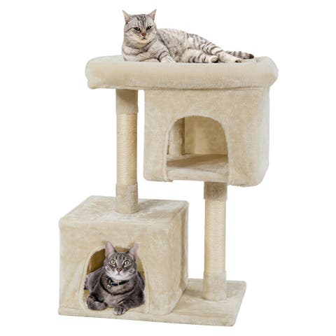 Gymax Luxury Cat Tree Cat Tower for Large Cats w/Sisal Post & Double