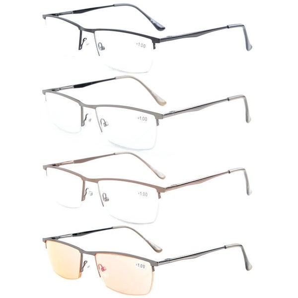 Eyekepper 4-Pack Quality Spring Hinges Half-Rim Reading Glasses+3.0