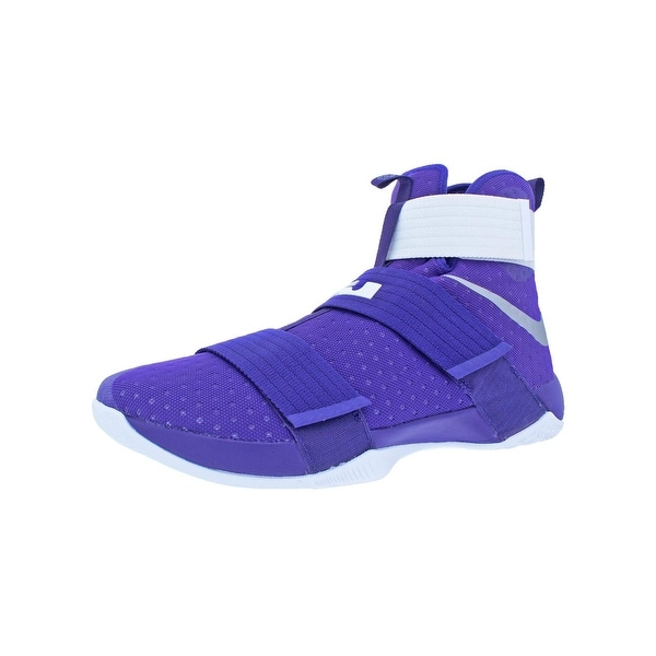 best sneakers f9100 18c6e Nike LeBron Soldier 10 Men  x27 s Mesh High-Top Basketball Shoes Purple