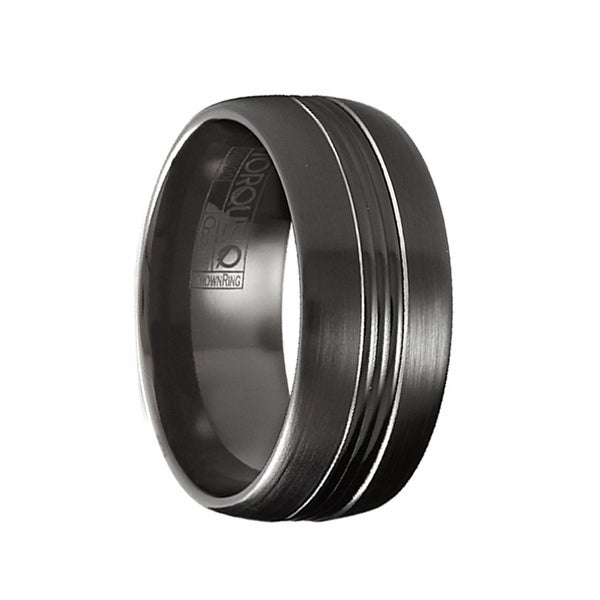 LAYTON Torque Black Cobalt Wedding Ring Domed Brushed Finish Center Design Polished Edges by Crown Ring - 9 mm