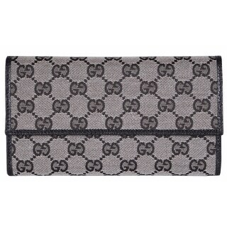 Gucci 257303 Grey Black Canvas Leather GG Guccissima Wallet W/Coin Pocket