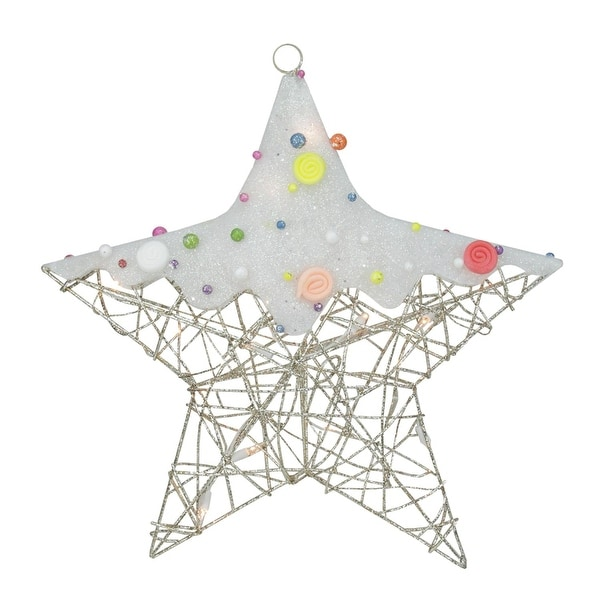 """19"""" Lighted Champagne Gold Glittered Rattan Candy Covered Hanging Star Christmas Window Decoration"""