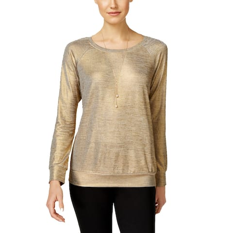 INC International Concepts Women's Metallic Gold Sweatshirt (M)
