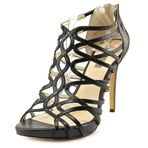 INC International Concepts Sharee Women Open Toe Leather Black Sandals