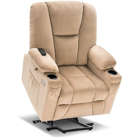Mcombo Electric Power Lift Recliner Chair with Extended Footrest for Elderly, Lumbar Pillow, Cup Holders, Fabric 7507