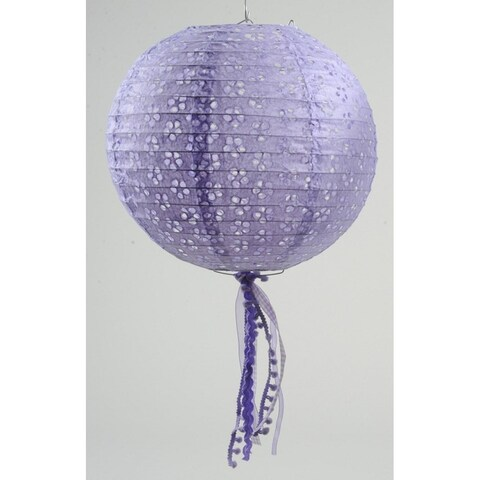"""15.75"""" Tea Garden Purple Floral Cut-Out Chinese Paper Lantern with Pom Pom Tassels"""