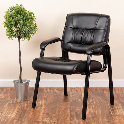 """LeatherSoft Executive Side Reception Lounge Chair with Titanium Gray Frame - 23.25""""W x 26""""D x 36""""H"""