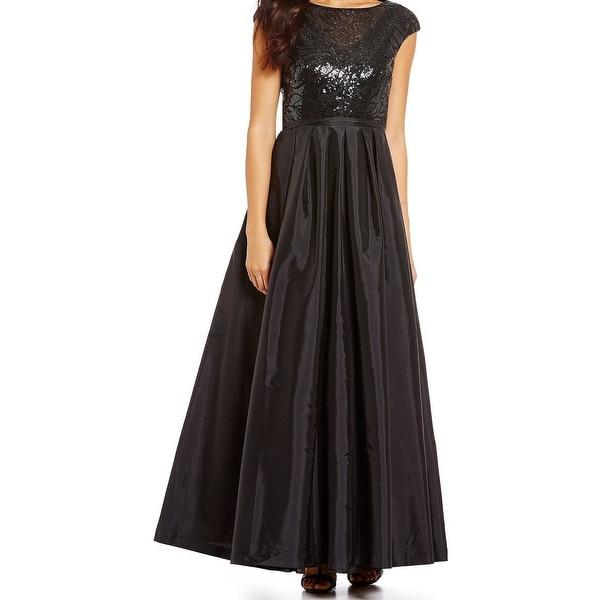 Shop Calvin Klein Taffeta Sequin Embellished Illuision Neckline ...