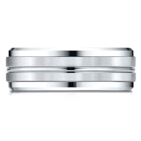 Platinum Gold 8mm Comfort-fit Drop Bevel Satin Center Cut Design Band