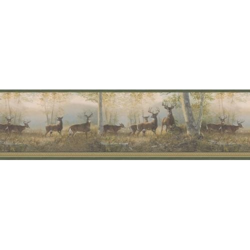Brewster TLL44341 Storrie Green Deer Border Wallpaper