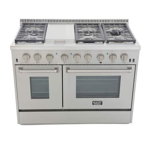 KUCHT Professional 48 in. 6.7 cu. ft. Natural Gas Range with Sealed Burners, Griddle and Double Oven in Stainless Steel