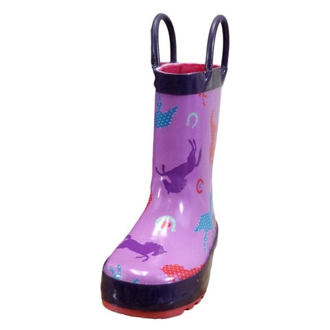 Farm Girl Outdoor Boots Girls Horse Print Rubber Orchid
