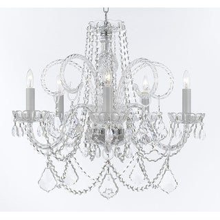 Venetian Style Crystal Chandelier w/ Large, Luxe, Diamond Cut Crystals