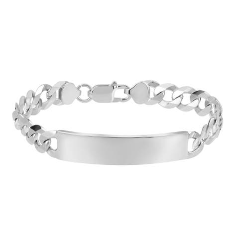 Handmade Classic Statement Rectangle Bar Curb Chain Sterling Silver 9mm Bracelett (Thailand)