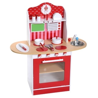 Costway New Kids Wood Kitchen Toy Cooking Pretend Play Set Toddler Wooden Playset Gift