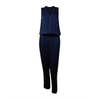 Tommy Hilfiger Women's V-Neck Zip-Front Jumpsuit (12, Masters Navy) - masters navy - 12
