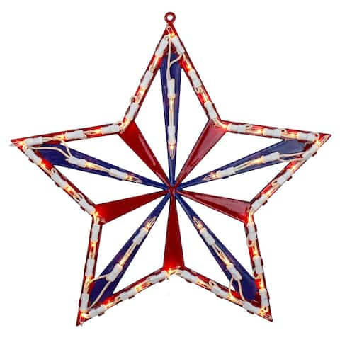 "14"" Lighted Red White and Blue 4th of July Star Window Silhouette Decoration"
