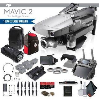 DJI Mavic 2 Zoom (CP.MA.00000020.01) With 2 64GB Memory Cards, 4 Extra Batteries and More - 4 Battery Essential Bundle