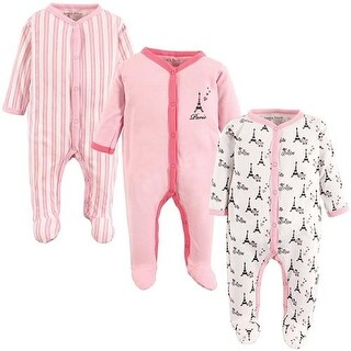 Luvable Friends Girls 0-9 Months Paris Sleep and Play 3-Pack