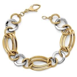 Italian 14k Two-Tone Gold Fancy Bracelet - 7.5 inches