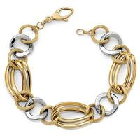 Italian 14k Two-Tone Gold Fancy Bracelet - 7.5 inches