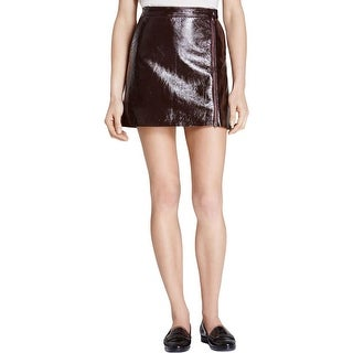 Theory Womens Berdin L A-Line Skirt Polished Leather Lined