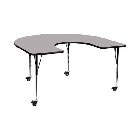 """Offex 60""""W x 66""""L Mobile Horseshoe Activity Table with Grey Thermal Fused Laminate Top and Standard Height Adjustable Legs"""