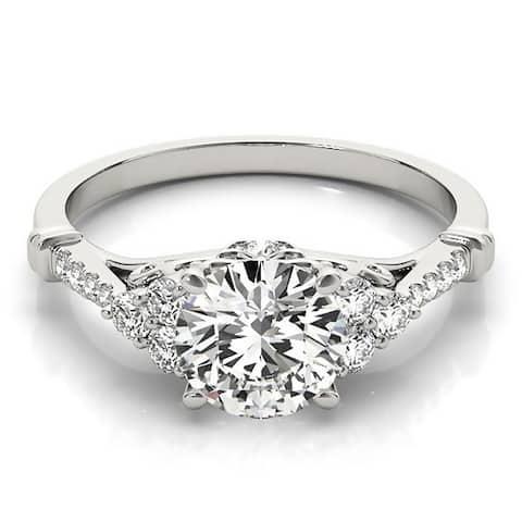 Auriya 14k Gold Vintage 1/2ct Round Moissanite and 1/5ctw Diamond Engagement Ring