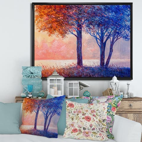Designart 'Colorful Autumn Forest Beautiful River' Lake House Framed Canvas Wall Art Print