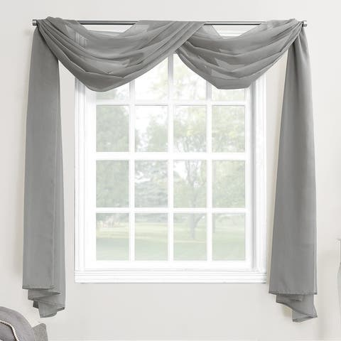 No. 918 Emily Voile Sheer Rod Pocket Window Curtain Scarf