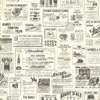 Brewster CTR64271 Adamstown Cream Vintage Newspaper Wallpaper