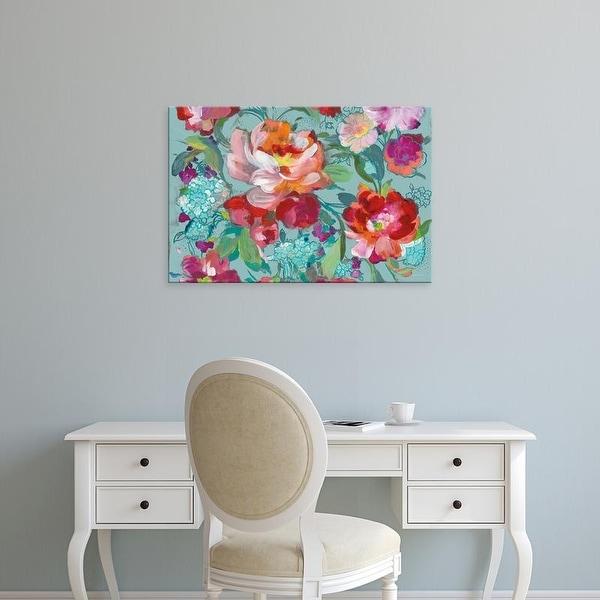 Easy Art Prints Danhui Nai's 'Bright Floral Medley Crop Turquoise' Premium Canvas Art