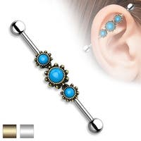 Triple Round Turquoise Center Industrial Barbell - 14GA (Sold Ind.)